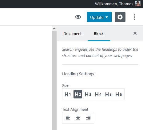Gutenberg: Block Einstellungen