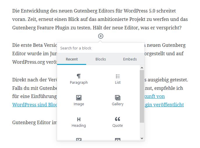 Gutenberg Block Inserter