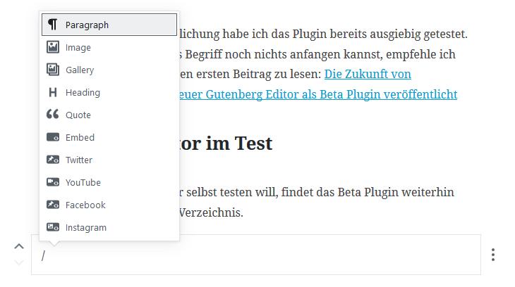 Gutenberg Editor: Block mit Tastatur einfügen