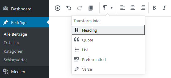 Transform Blocks Dialog in Gutenberg