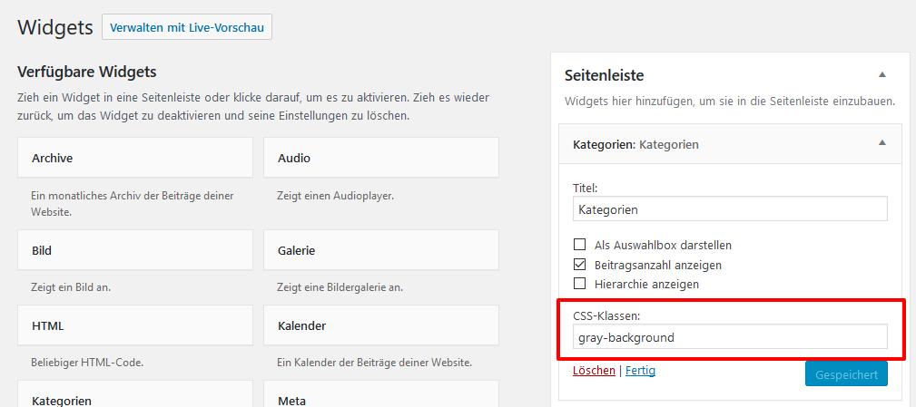 Eigene CSS Klassen in WordPress Widgets hinzufügen