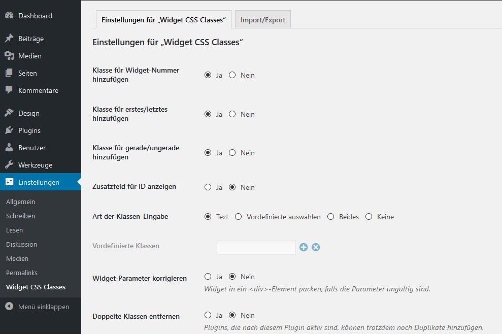 Einstellungen für Widget CSS Classes