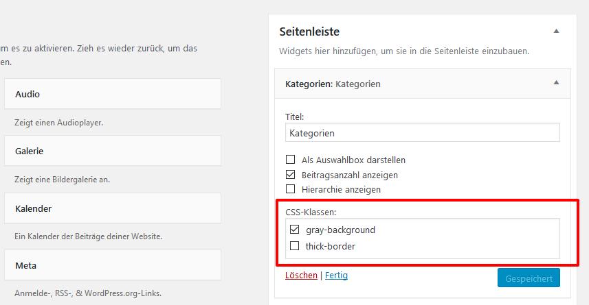Vordefinierte CSS Klassen im Widget auswählen