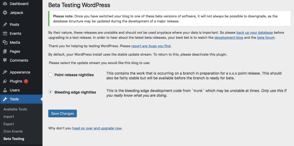 WordPress Beta Testing