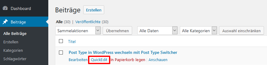 Quick Edit Funktion in WordPress