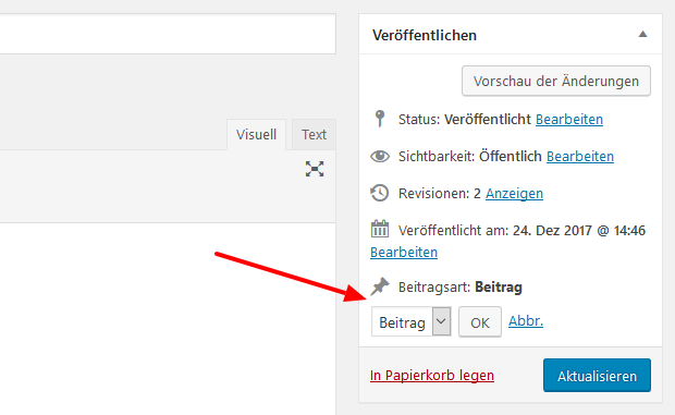 WordPress Post Type im Editor ändern