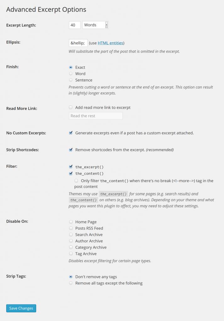 Alle Optionen von WordPress Advanced Excerpt