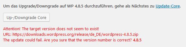 WP Downgrade: Version nicht vorhanden