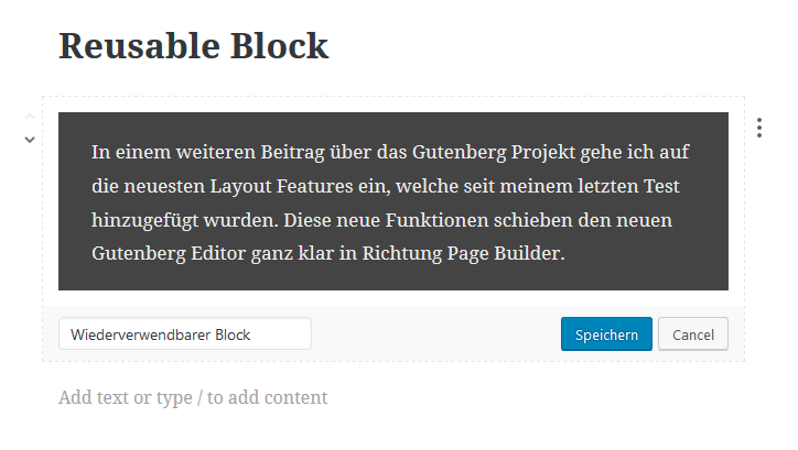 Gutenberg Reusable Block