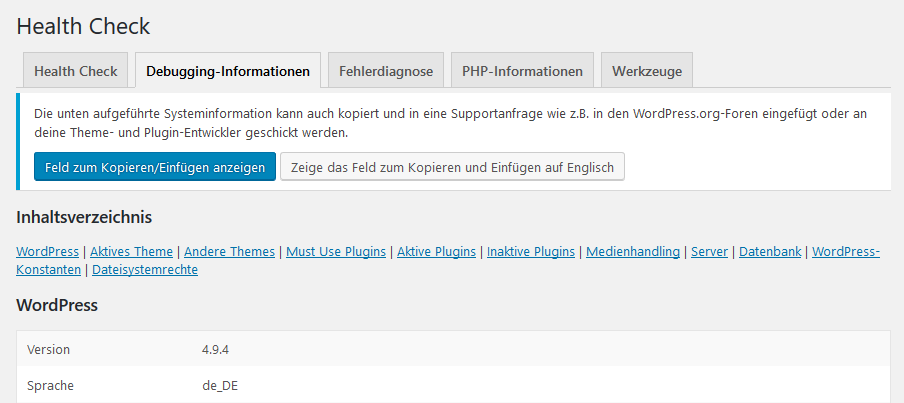 WordPress Debugging-Informationen
