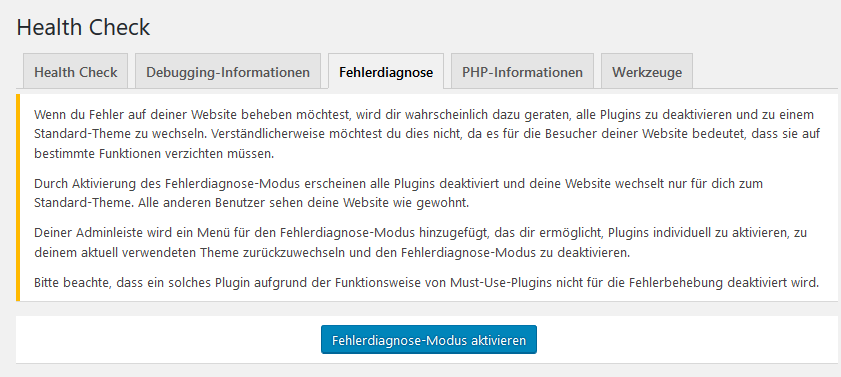 WordPress Fehlerdiagnose