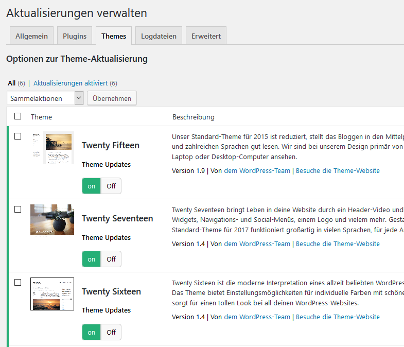WordPress Theme Updates deaktivieren