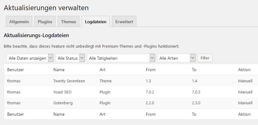 WordPress Update Logs