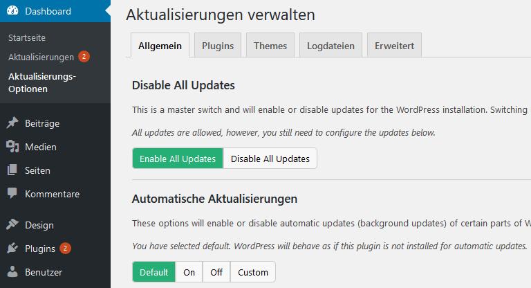WordPress Updates verwalten