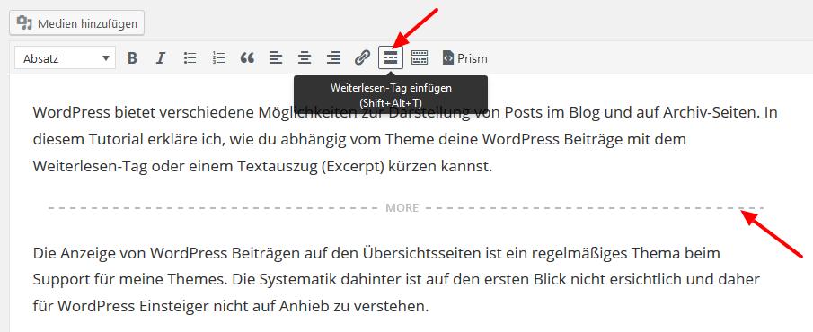 WordPress Weiterlesen-Tag einfügen