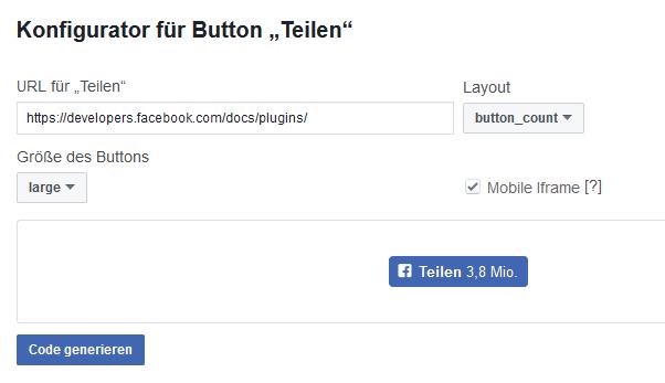 Facebook Konfigurator für Teilen-Button