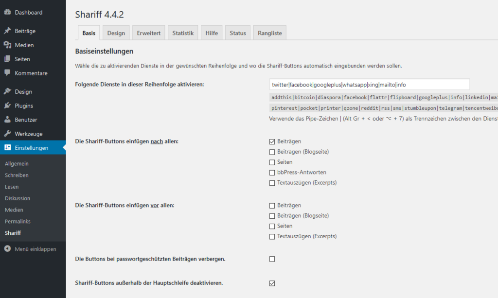 WordPress Shariff Wrapper Einstellungen