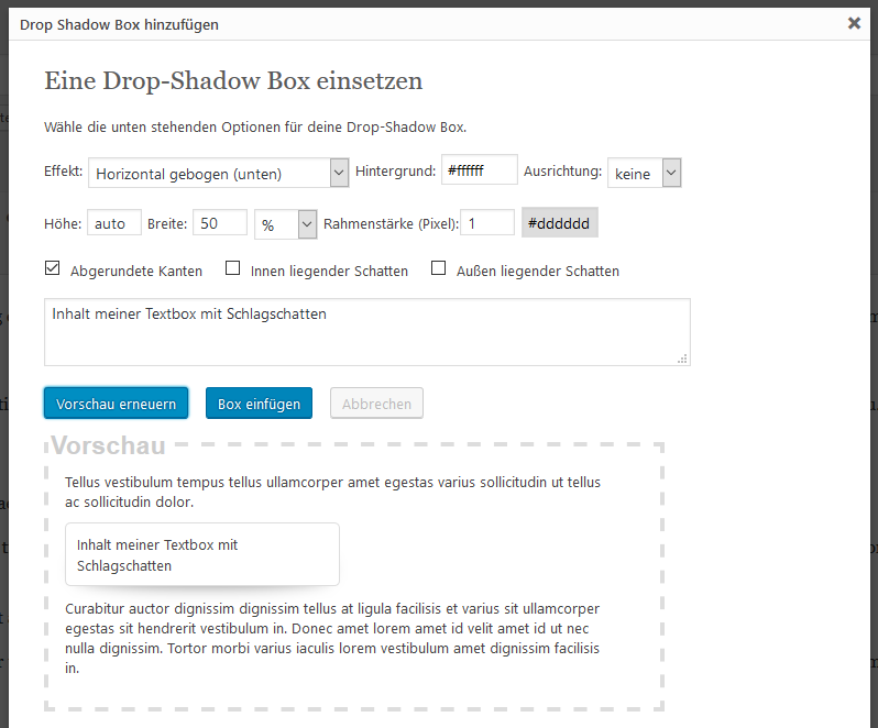 Drop Shadow Box Shortcode Generator