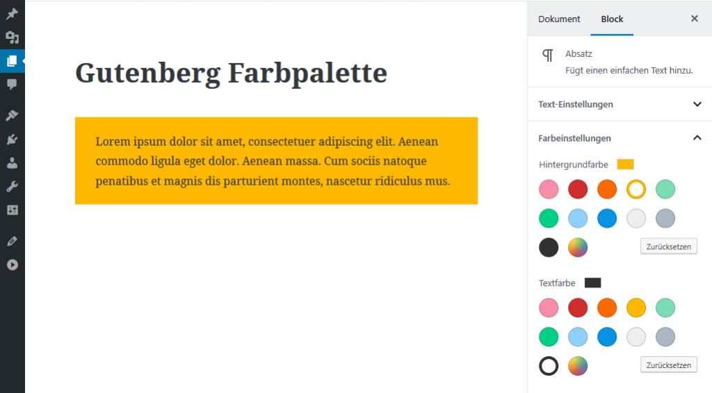 Gutenberg Farbpalette