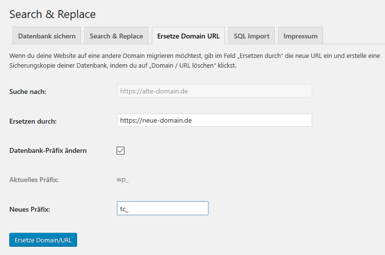 WordPress Domain URL ersetzen