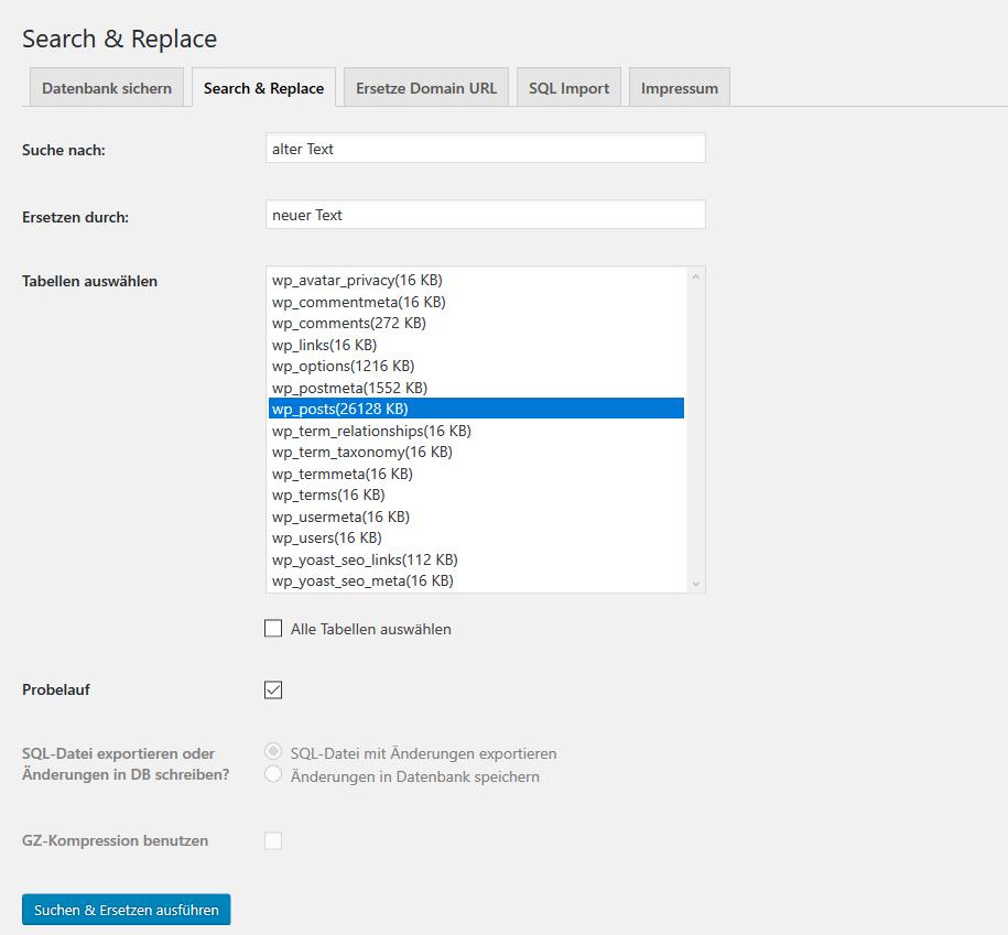 WordPress Suchen und Ersetzen