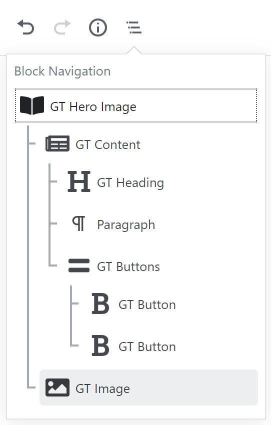 Block Navigation für Hero Image