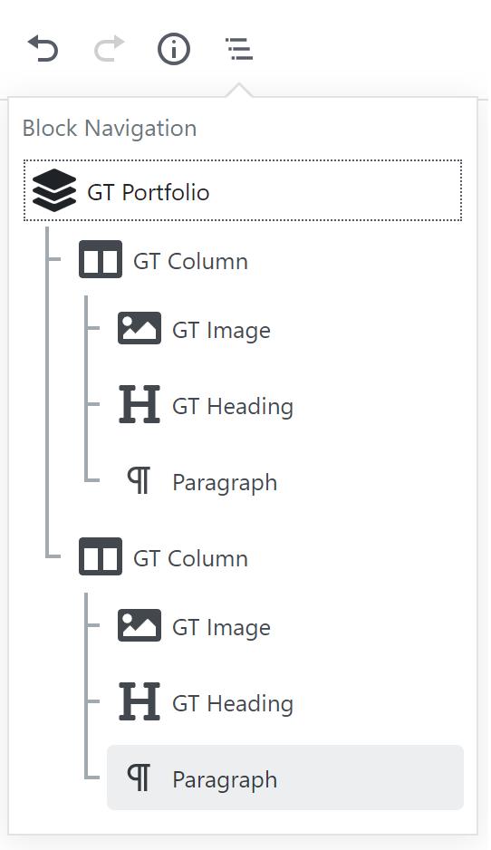 Block Navigation für Portfolio Block