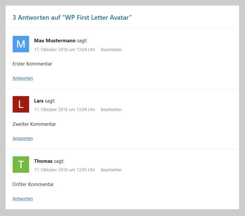 WordPress Avatare mit Buchstaben