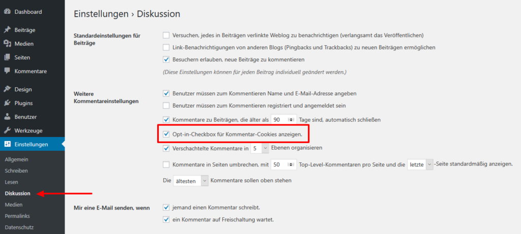 Checkbox für Kommentar-Cookies in WordPress aktivieren