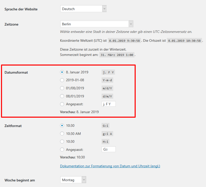 WordPress Datumsformat
