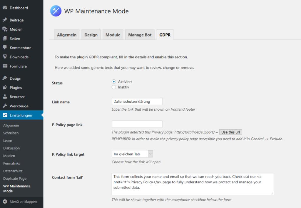 Datenschutzeinstellungen für WP Maintenance Mode