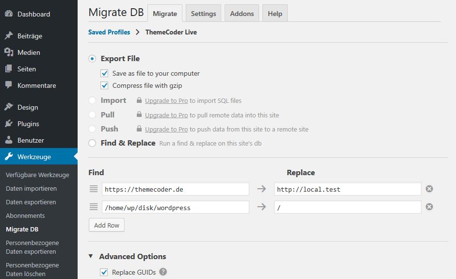 WordPress Datenbank umziehen
