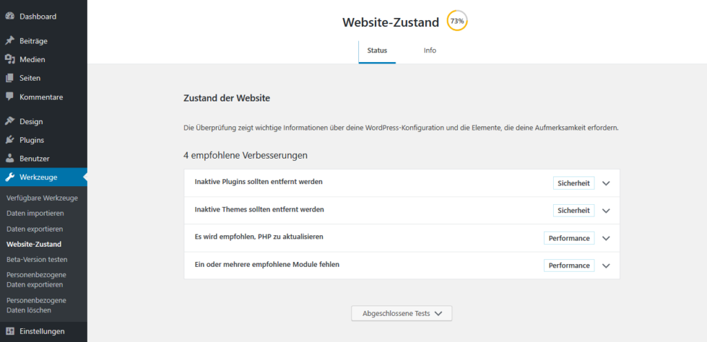 WordPress 5.2 Website-Zustand