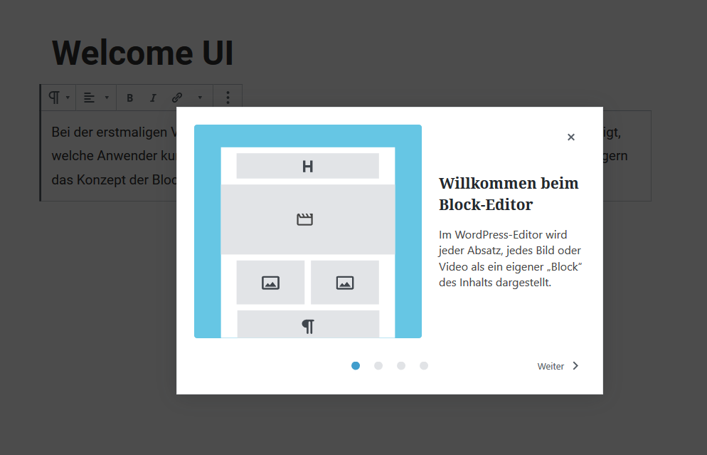 Gutenberg Welcome Screen in WordPress 5.4