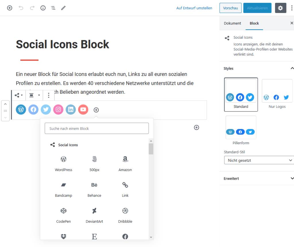 WordPress 5.4: Social Icons Block
