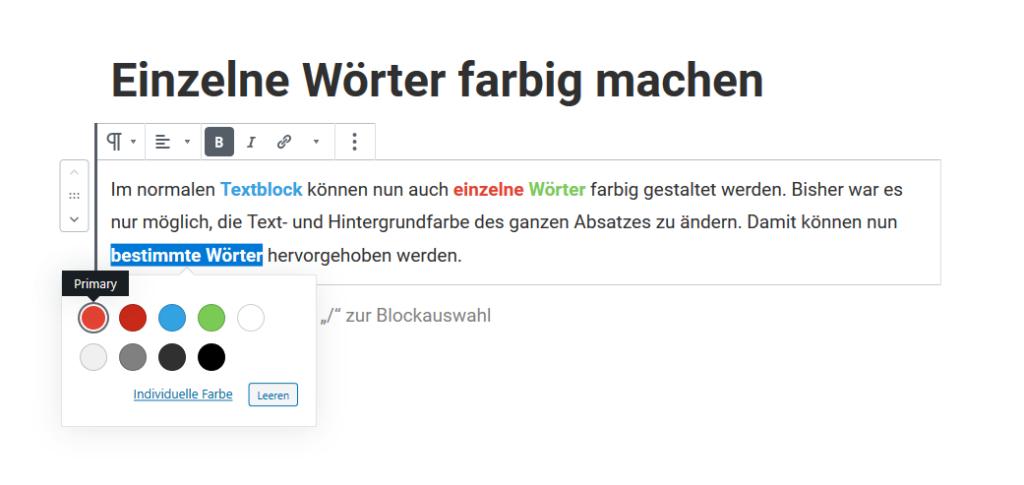 Gutenberg Textfarbe im Absatz-Block