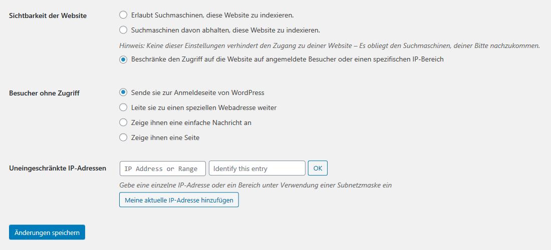 Zugriff auf WordPress Website konfigurieren